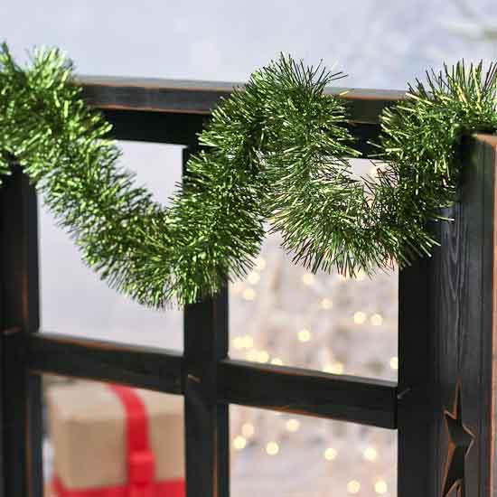 Metallic green tinsel garland christmas garlands