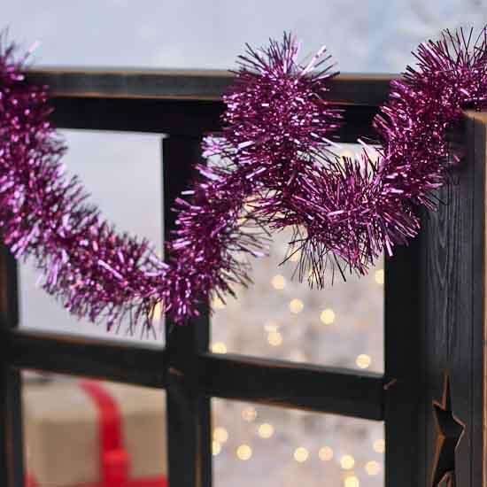 Metallic purple tinsel garland christmas garlands