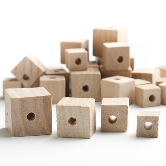 Assorted unfinished wood cube beads wooden cubes for Wooden blocks craft supplies