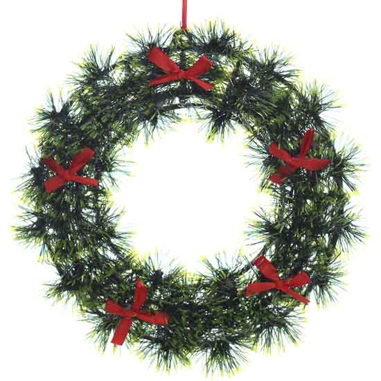 Small green tinsel wreath holiday florals christmas
