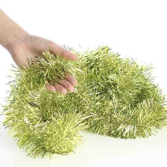 Metallic lime green tinsel garland christmas garlands