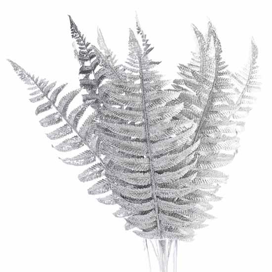 glittery silver fern fronds leaf picks
