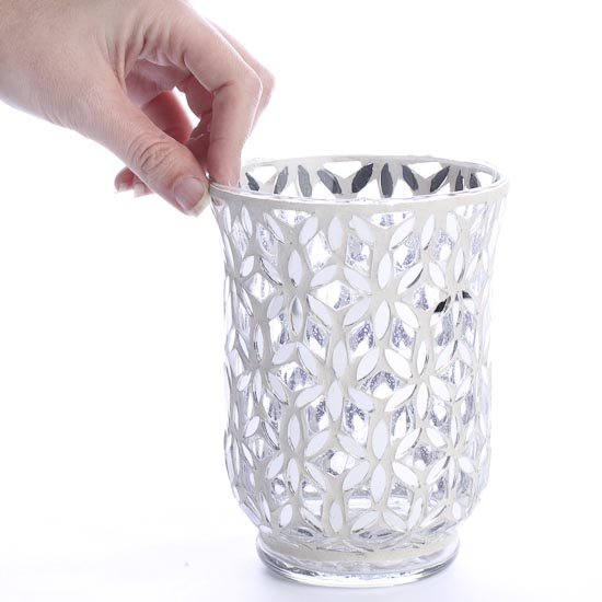 Mirror Mosaic Snowflake Glass Hurricane Vase Candles And