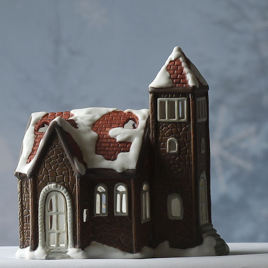 Painting Church In Snow Religious Christmas Ceramic: Ceramic Snow Covered Church Tea Light Candle Holder