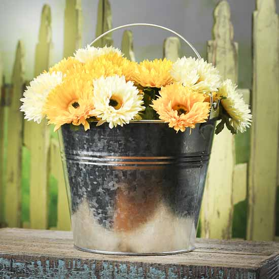 Galvanized Metal Pail Decorative Containers Kitchen