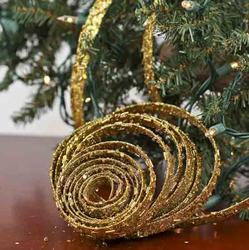 Gold Sparkle Mesh Ribbon Garland Ribbon And Trims