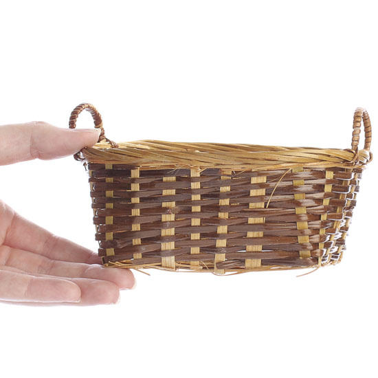 Bamboo Basket Making Supplies : Miniature wicker laundry basket doll accessories