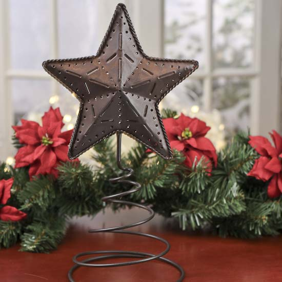 Click Here For A Larger View - Primitive Rusty Tin Star Tree Topper - Trees And Toppers - Christmas
