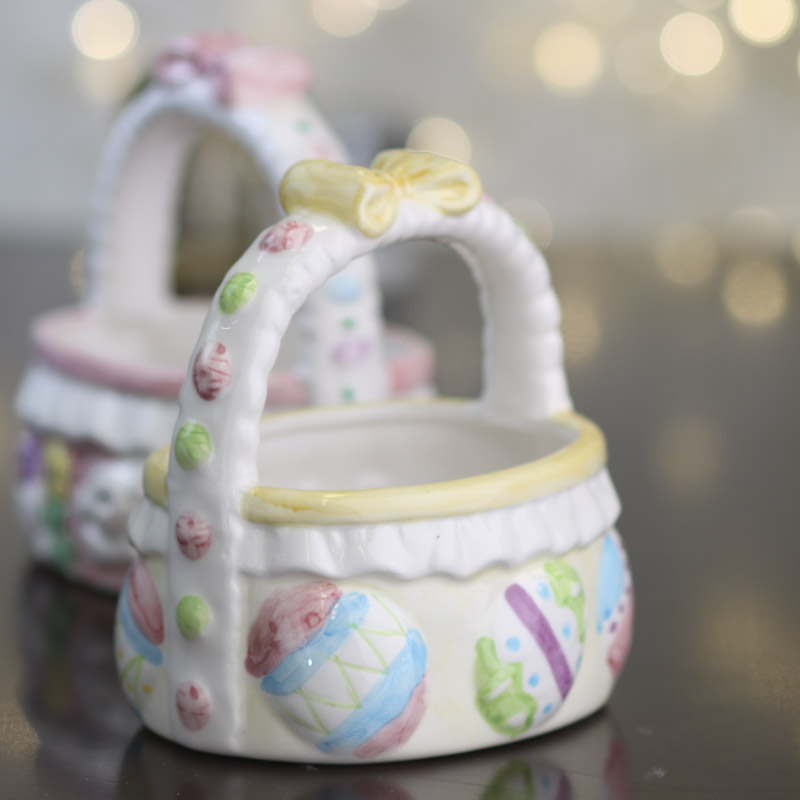 Small Ceramic Easter Basket Spring And Easter Holiday