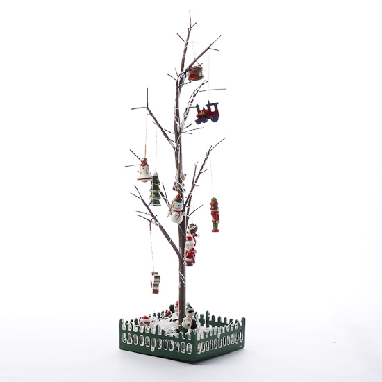 Twig christmas tree and ornaments in a box trees and for Christmas tree in a box