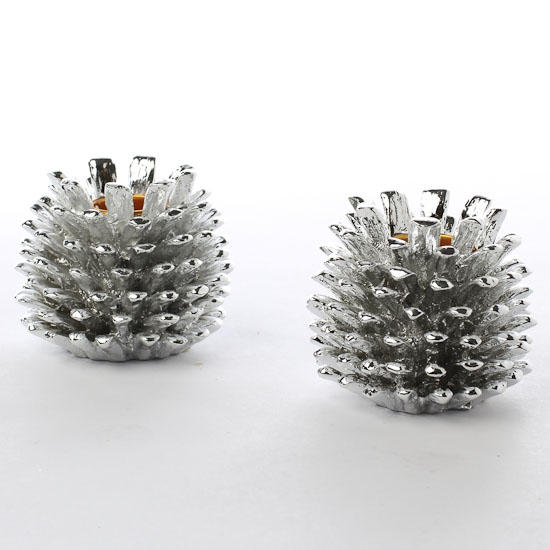 Silver Metal Pinecone Candle Holders - Table/Shelf Decorations ...