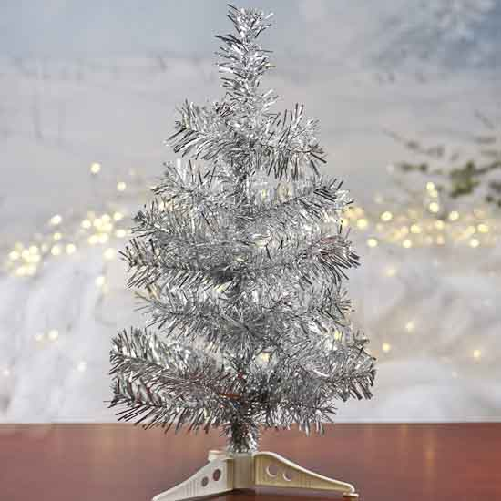 Retro Silver Tinsel Christmas Tree - Christmas Trees and Toppers ...