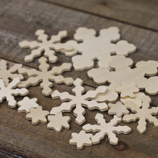 Assorted Unfinished Wood Snowflake Cutouts