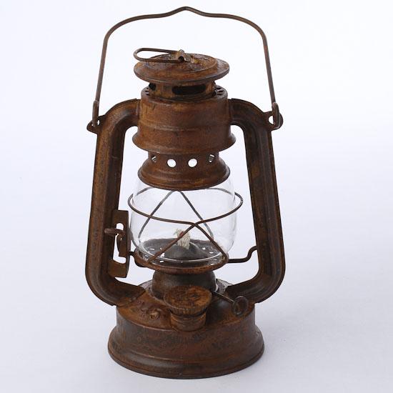 Reproduction rusty tin railroad lantern western theme