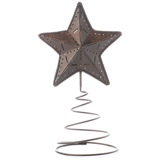 Compare Size - Primitive Rusty Tin Star Tree Topper - Trees And Toppers - Christmas
