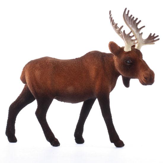 Flocked Brown Bull Moose Table Decor Christmas And