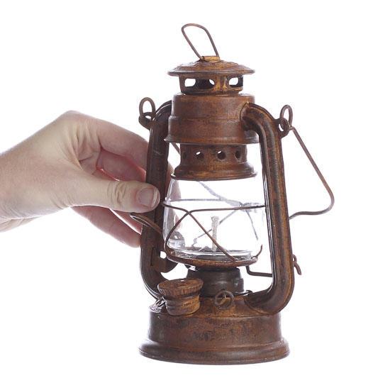 Reproduction rusty tin railroad lantern decorative