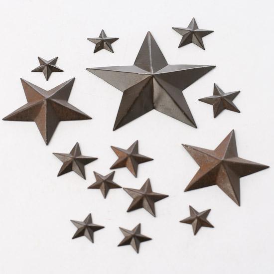Assorted Miniature Rustic Tin Barn Stars   Rusty Tin Cutouts   Basic Craft  Supplies   Craft Supplies