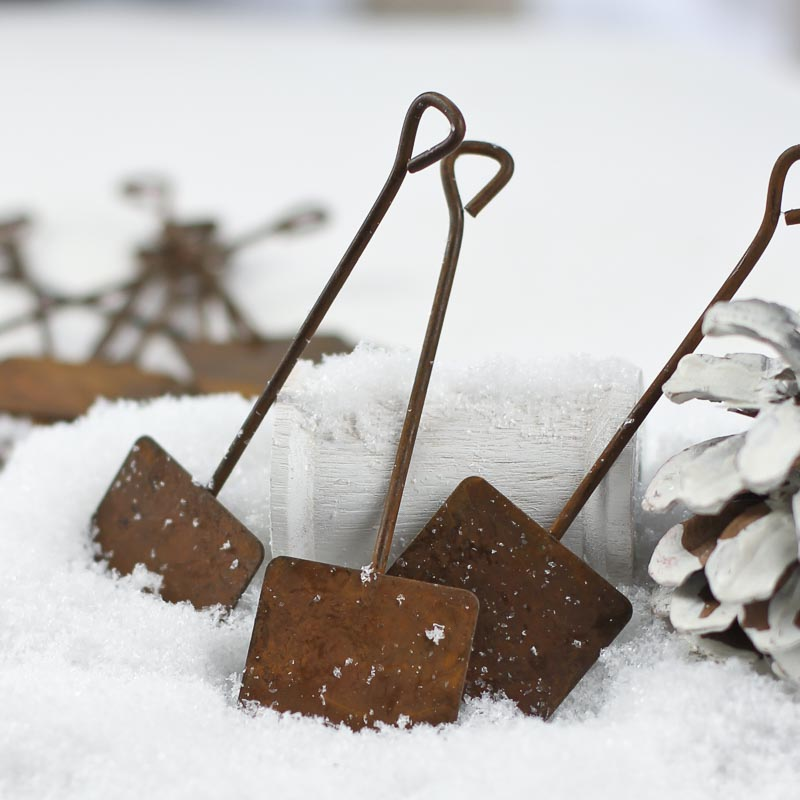 Miniature Dollhouse FAIRY GARDEN Accessories ~ Rustic Rusted Tin Snow Shovel NEW