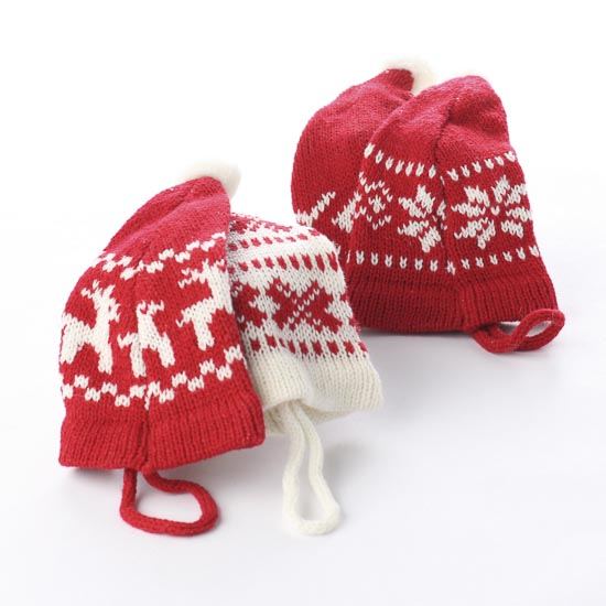 White And Red Knit Stocking Cap Ornament Doll Supplies