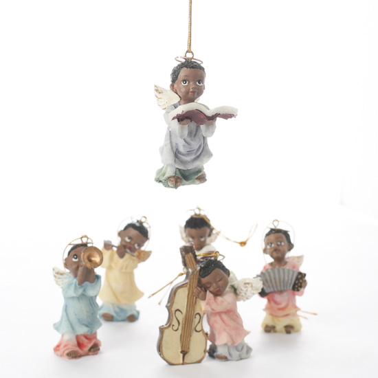 Miniature African American Musical Angel Ornaments