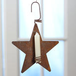 Rusty Tin Star Candle Holder Ornament