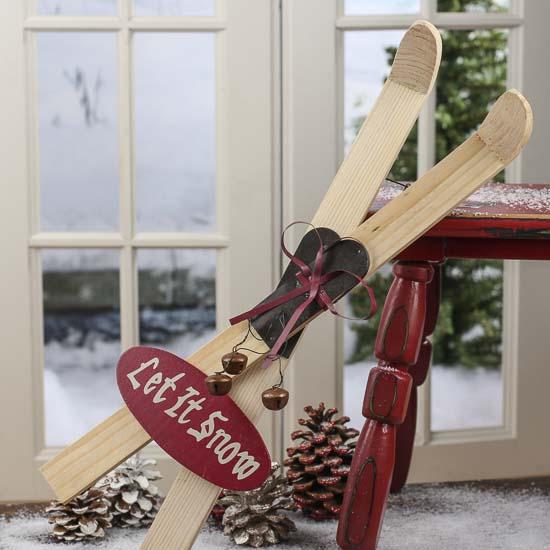 Let It Snow Wood Vintage Inspired Snow Skis