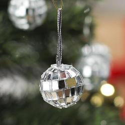 Miniature Silver Mirror Disco Ball Ornaments Christmas