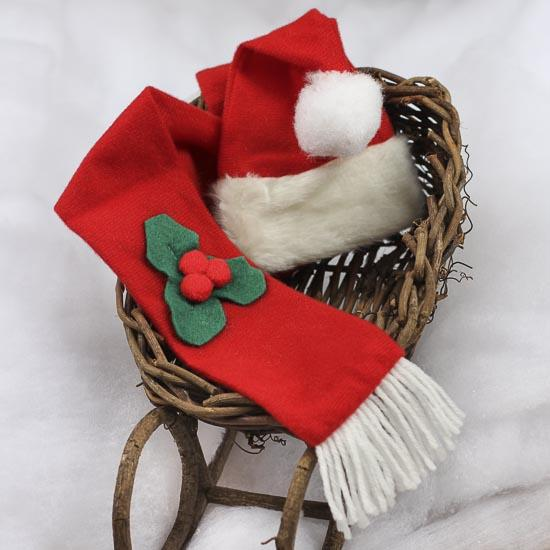Small christmas hat and scarf set doll hats doll for Tiny top hats for crafts