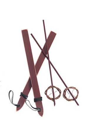 Wooden Folk Skis And Ski Poles Set Doll Accessories