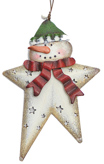 Metal star snowman ornament christmas ornaments