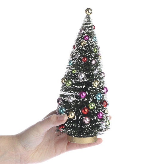 Frosted bottle brush christmas tree table decor for Bottle brush christmas tree decorations