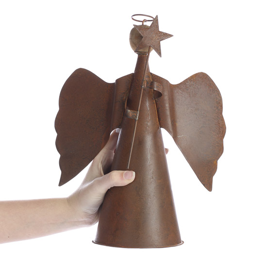 Small Angel Christmas Tree Topper: Rusty Tin Angel Tree Topper