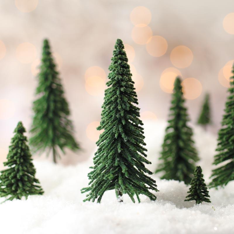 Miniature Artificial Christmas Trees: Miniature Flocked Artificial Pine Trees