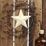 Burgundy Pip Berry and Cream Barn Star Wreath