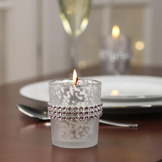 Home Decor Candle Holders And Accessories: Frosted Mercury Glass And Rhinestone Votive Holders