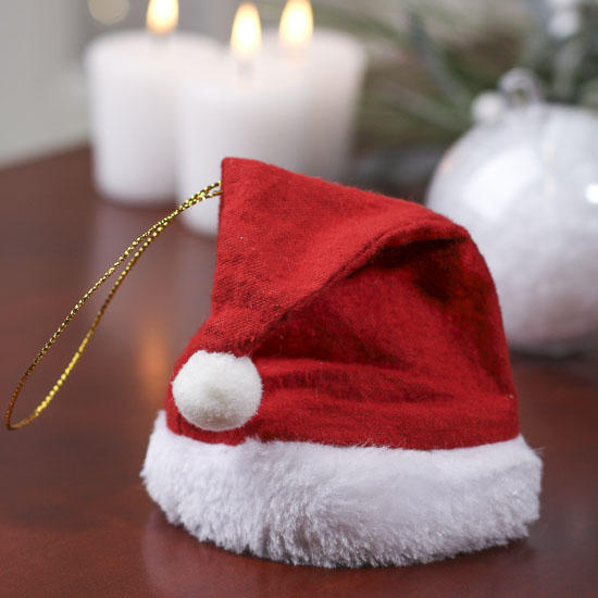 Small fleece santa hat ornament doll hats doll making for Tiny top hats for crafts