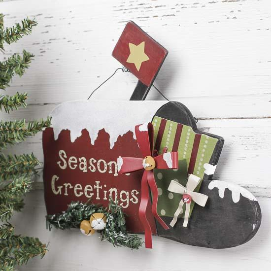 Primitive wooden mailbox sign wall art christmas and for Mini tin mailboxes for crafts