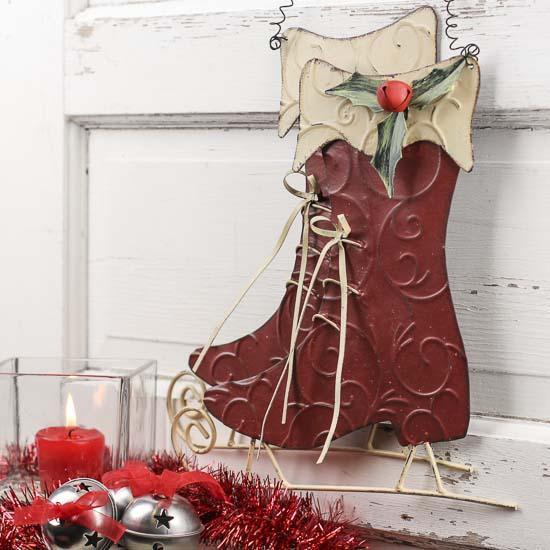 Primitive Christmas Wall Decor : Primitive red metal ice skates wall decor art