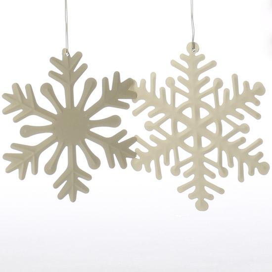 Ivory metal snowflake ornament christmas ornaments