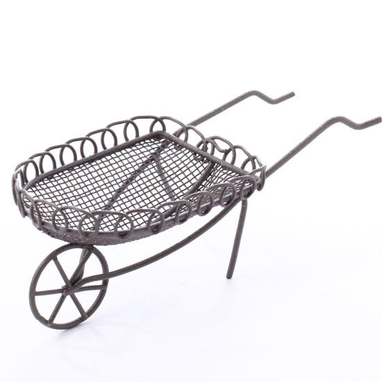 miniature rusty wire wheelbarrow - fairy garden miniatures - dollhouse miniatures