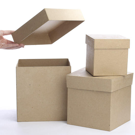 Square paper mache boxes paper mache basic craft for Craft paper mache boxes