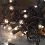 Clear Globe Bulb and Brown Cord String Lights