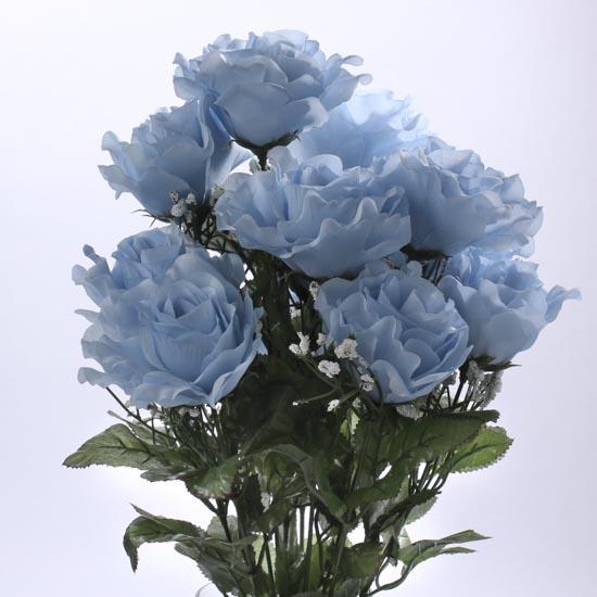 Light Blue Artificial Open Rose Bush Bushes Bouquets
