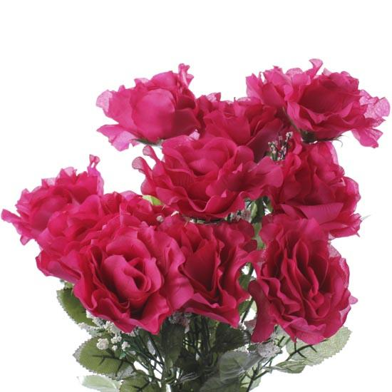 Magenta artificial open rose bush bushes and bouquets
