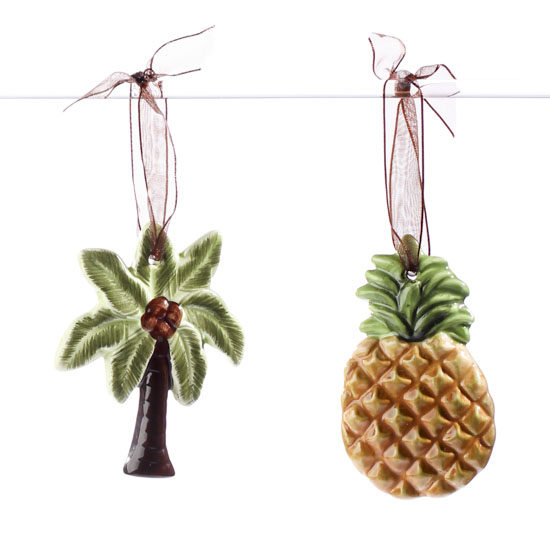 Ceramic Tropical Ornament Set Coastal Decor Home Decor