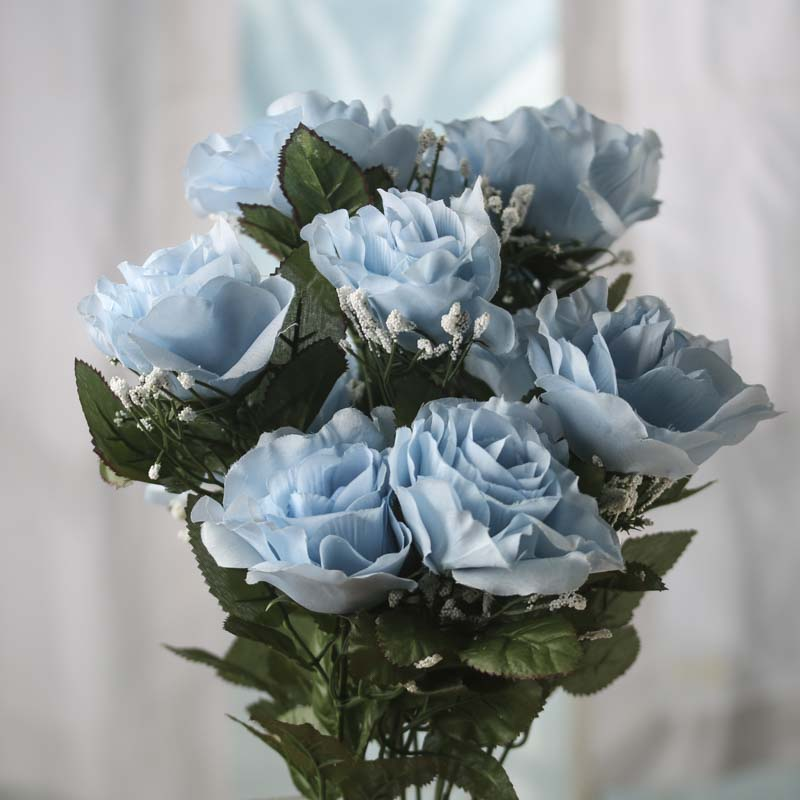 Light Blue Artificial Open Rose Bush Bushes Bouquets