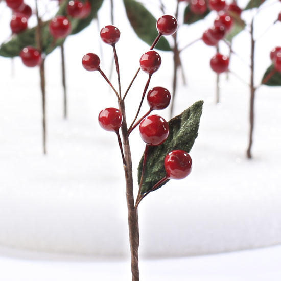 Red berry and leaf picks holiday florals christmas