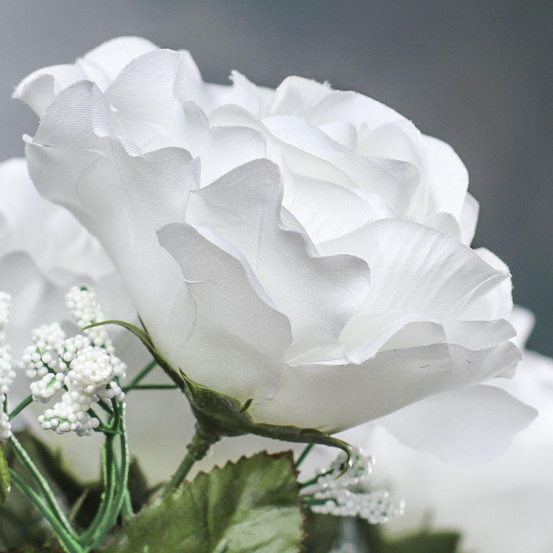 White Artificial Open Rose Bush Bushes And Bouquets