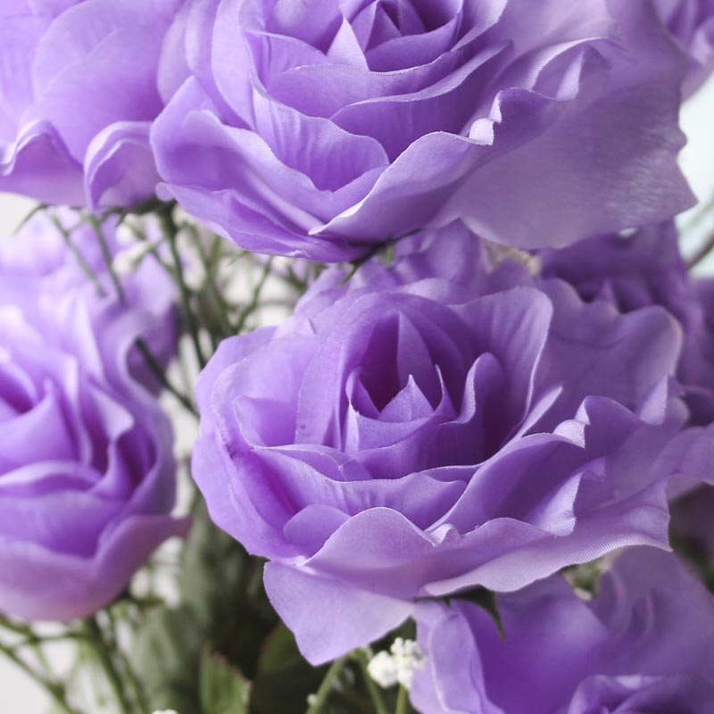 Lavender Artificial Open Rose Bush Bushes Bouquets